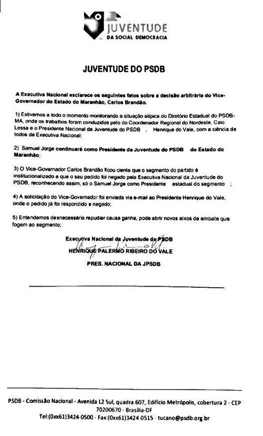 16665964 1745162432372916 7568889639013377771 o - PSDB nacional desfaz decisão de Carlos Brandão, e Samuel Jorge retorna ao cargo de presidente - minuto barra