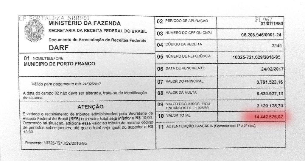 darf1 1024x542 - Porto Franco: Dívida deixada pela gestão de Deoclides, chega a quase 17 milhões - minuto barra