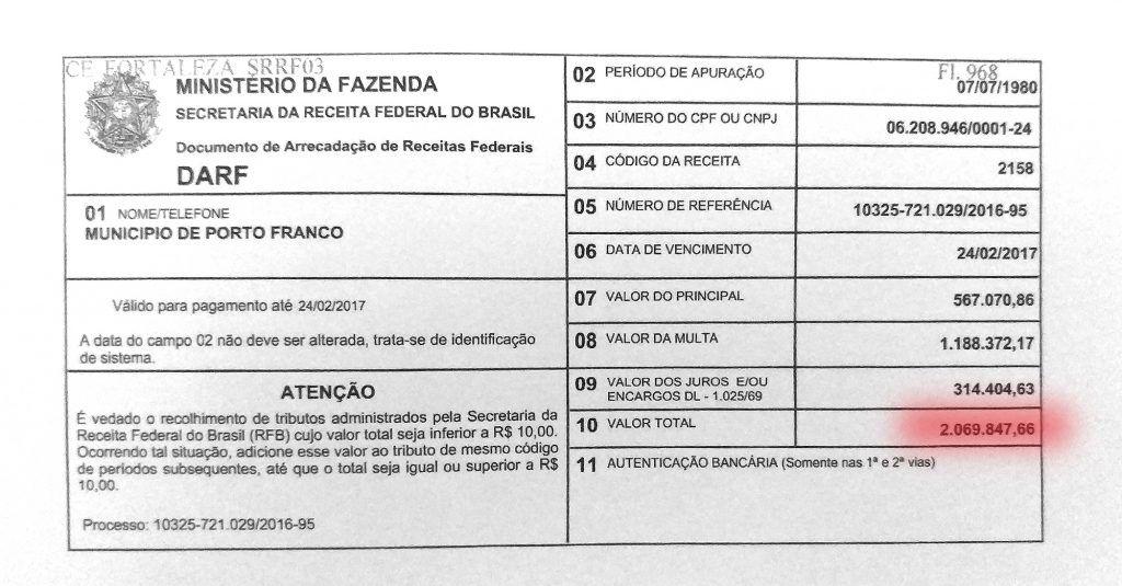 darf2 1024x535 - Porto Franco: Dívida deixada pela gestão de Deoclides, chega a quase 17 milhões - minuto barra