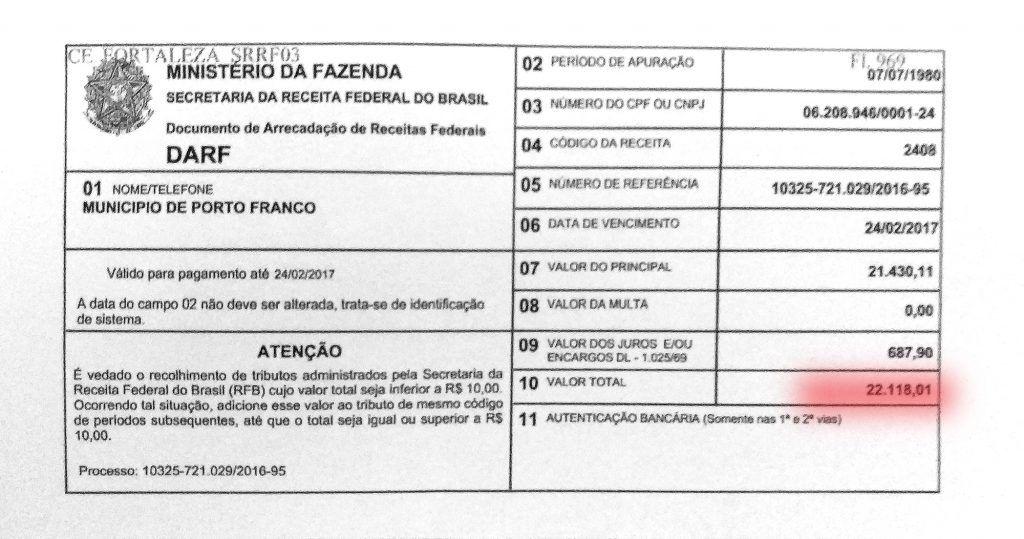 darf3 1024x539 - Porto Franco: Dívida deixada pela gestão de Deoclides, chega a quase 17 milhões - minuto barra