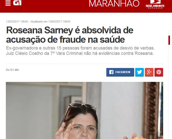 roseana inocente - Sem discurso, adversários de Roseana Sarney usam de mentiras na internet - minuto barra