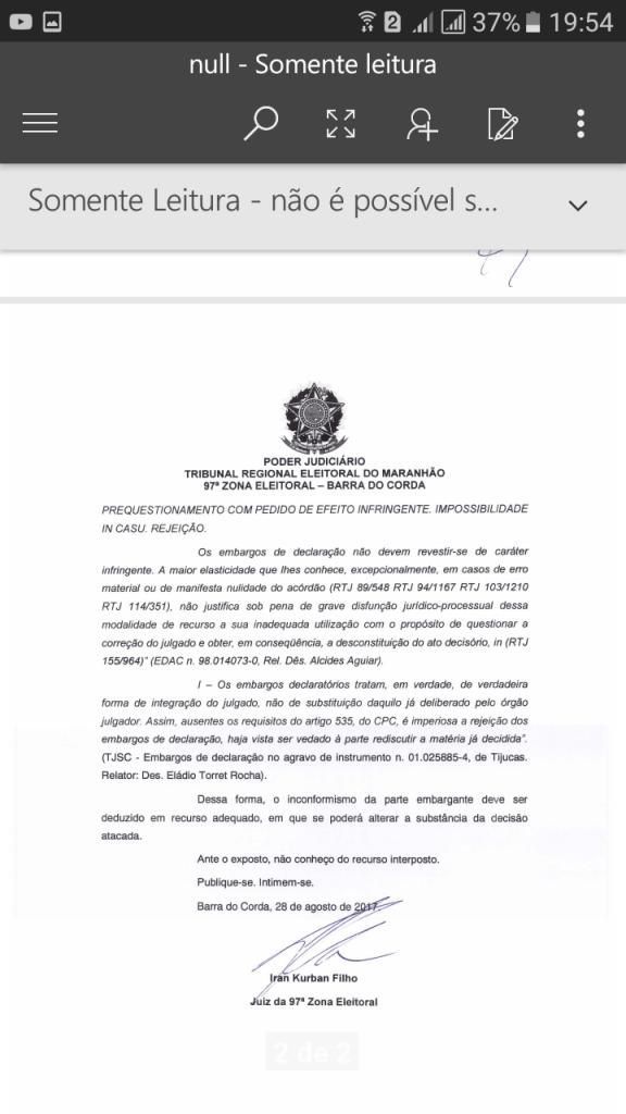 Screenshot 20170829 195442 576x1024 - URGENTE!! Justiça Eleitoral reprova as contas de campanha de Abigail Cunha em Jenipapo dos Vieiras - minuto barra