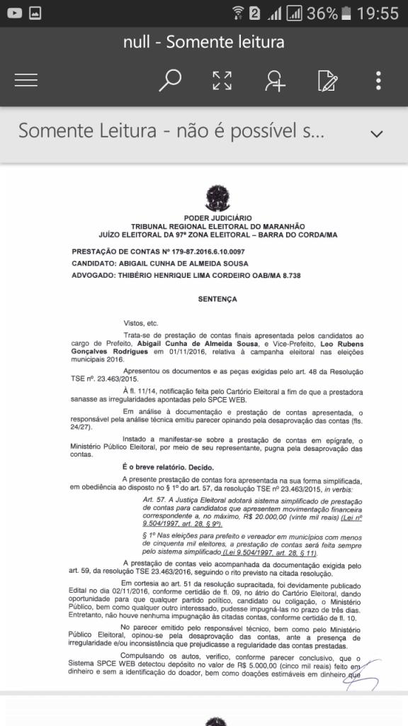 Screenshot 20170829 195540 576x1024 - URGENTE!! Justiça Eleitoral reprova as contas de campanha de Abigail Cunha em Jenipapo dos Vieiras - minuto barra