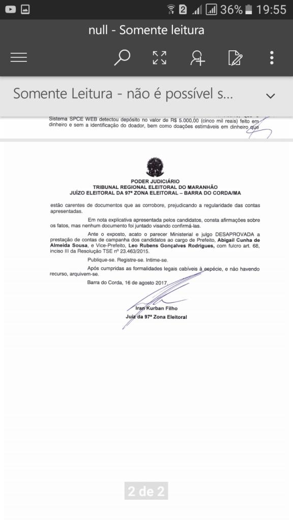Screenshot 20170829 195544 576x1024 - URGENTE!! Justiça Eleitoral reprova as contas de campanha de Abigail Cunha em Jenipapo dos Vieiras - minuto barra