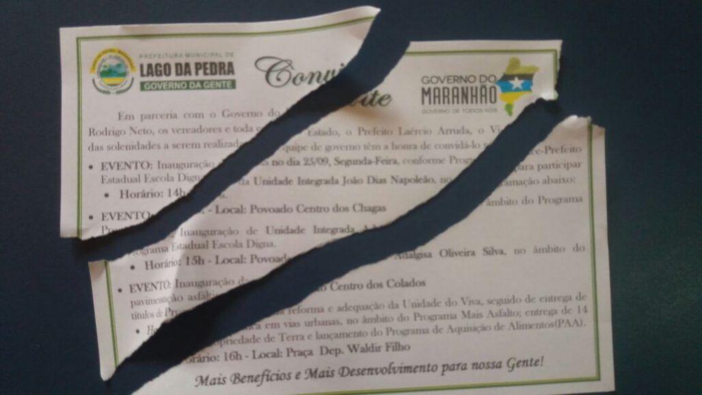 IMG 20170922 WA0015 1024x576 - Vixe Flávio Dino!!! Presidente da Câmara de Lago da Pedra, rasga convite para comparecer em evento do governador - minuto barra