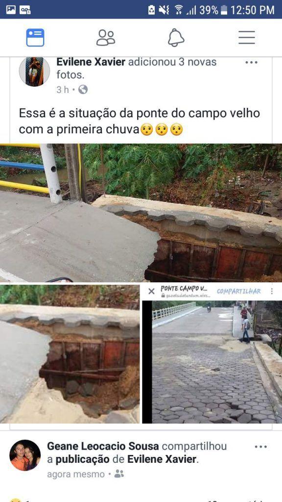IMG 20171016 WA0058 576x1024 - Ponte que Flávio Dino inaugurou em Tuntum, começa a desmoronar - minuto barra