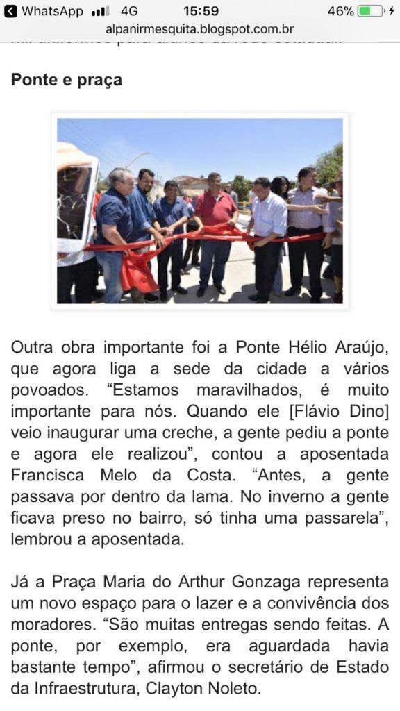 IMG 20171016 WA0066 576x1024 - Ponte que Flávio Dino inaugurou em Tuntum, começa a desmoronar - minuto barra