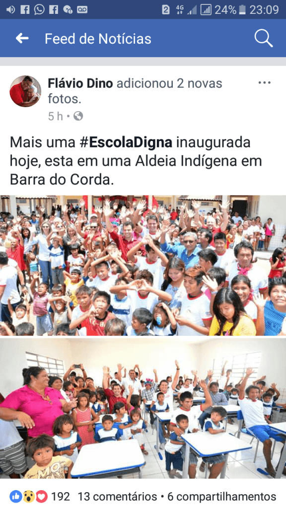 """Screenshot 20171020 230934 576x1024 - Flávio Dino falta com a verdade, ao afirmar que escola inaugurada em Barra do Corda, pertence ao programa """"Escola Digna"""" - minuto barra"""