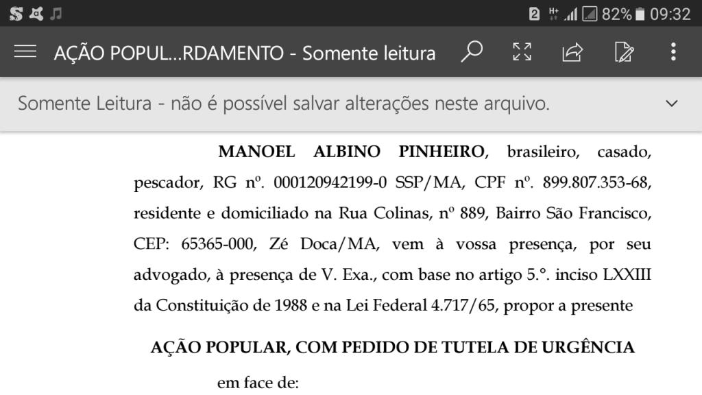 Screenshot 20171130 093217 1024x576 - Zé Doca: Ação Popular, pede na justiça, que a prefeita seja punida por confeccionar uniformes com as cores do seu partido - minuto barra