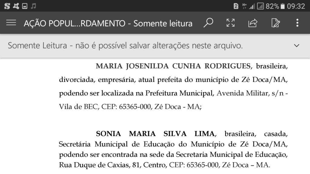 Screenshot 20171130 093245 1024x576 - Zé Doca: Ação Popular, pede na justiça, que a prefeita seja punida por confeccionar uniformes com as cores do seu partido - minuto barra