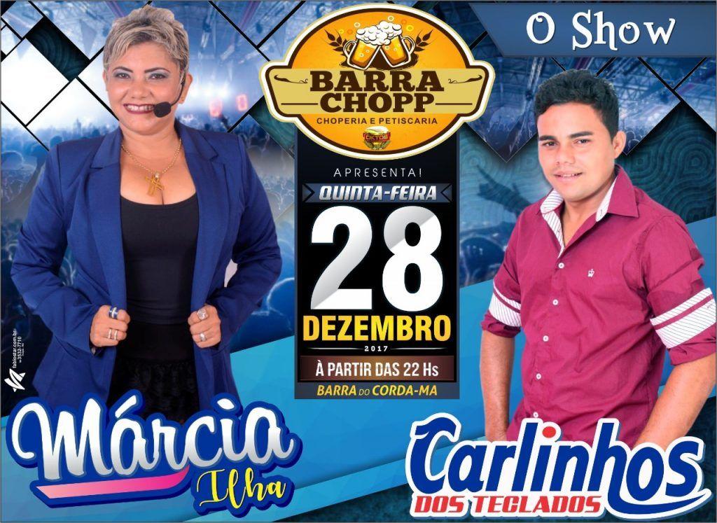 IMG 20171226 WA0057 1024x747 - Cantora Márcia Ilha, nesta quinta-feira no Barra Chopp - minuto barra