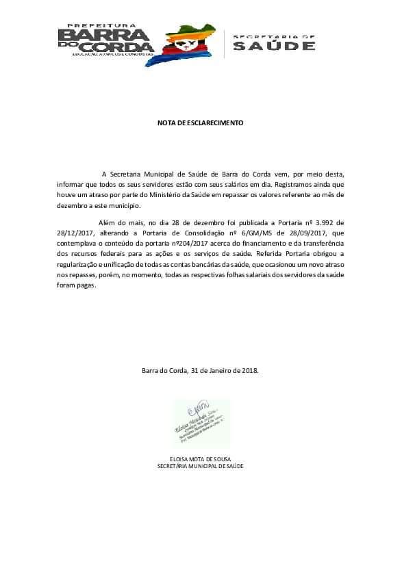 FB IMG 1517432895146 - EM NOTA: Secretaria de Saúde informa que os salários dos servidores estão em dia em Barra do Corda - minuto barra