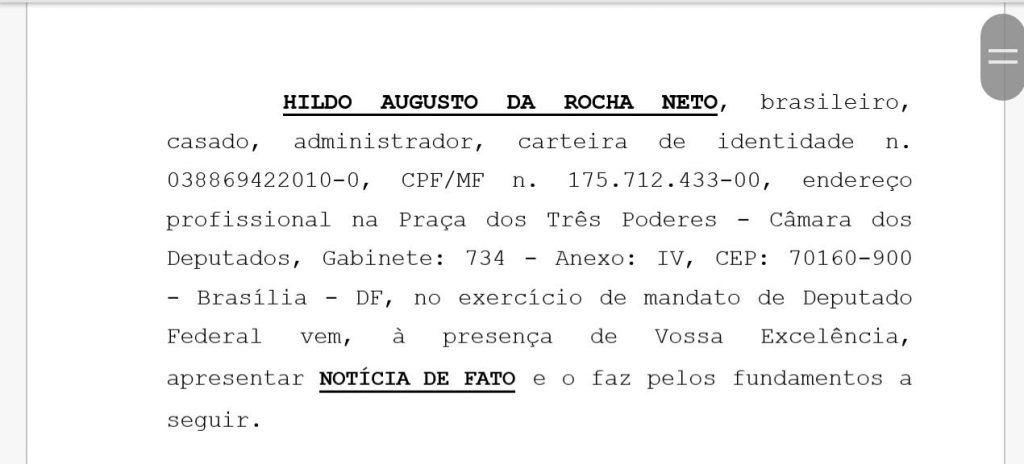 """IMG 20180118 WA0045 1024x464 - URGENTE!! Hildo Rocha oferece ao MP """"Notícia de Fato"""" contra Duarte Júnior do Procon - minuto barra"""