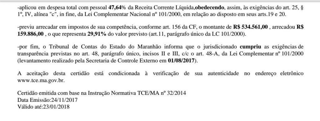 IMG 20180123 WA0026 1024x389 - TCE-MA declara que Prefeitura de Jenipapo dos Vieiras é transparente - minuto barra