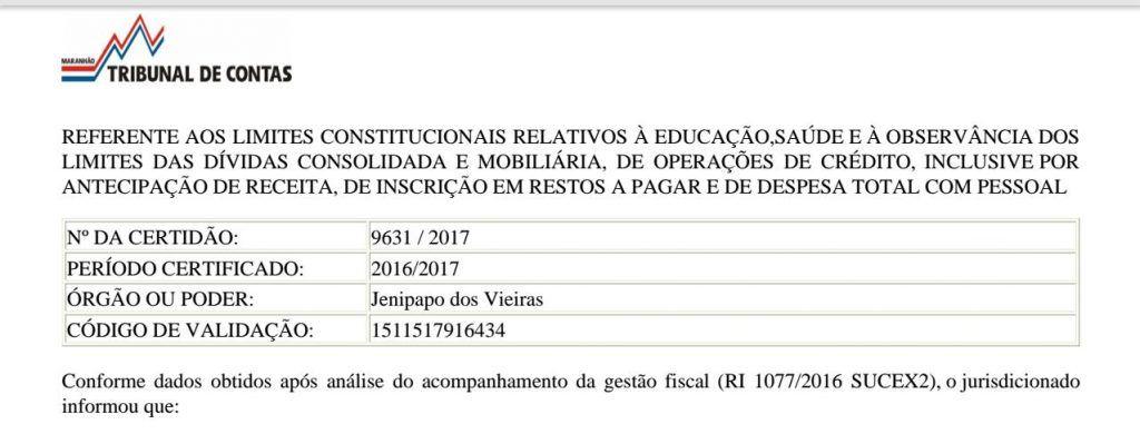 IMG 20180123 WA0028 1024x390 - TCE-MA declara que Prefeitura de Jenipapo dos Vieiras é transparente - minuto barra