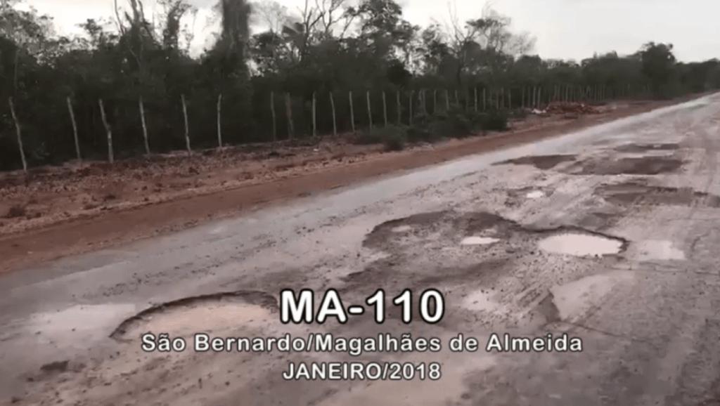 MA 110 • ESTADO DE CONSERVAÇÃO • 26 01 2018 1024x578 - Hildo Rocha mostra a situação precária de estrada em São Bernardo - minuto barra