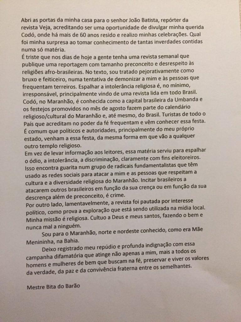 IMG 20180410 WA0109 768x1024 - Bita do Barão afirma em nota que Revista Veja publicou inverdades a seu respeito - minuto barra