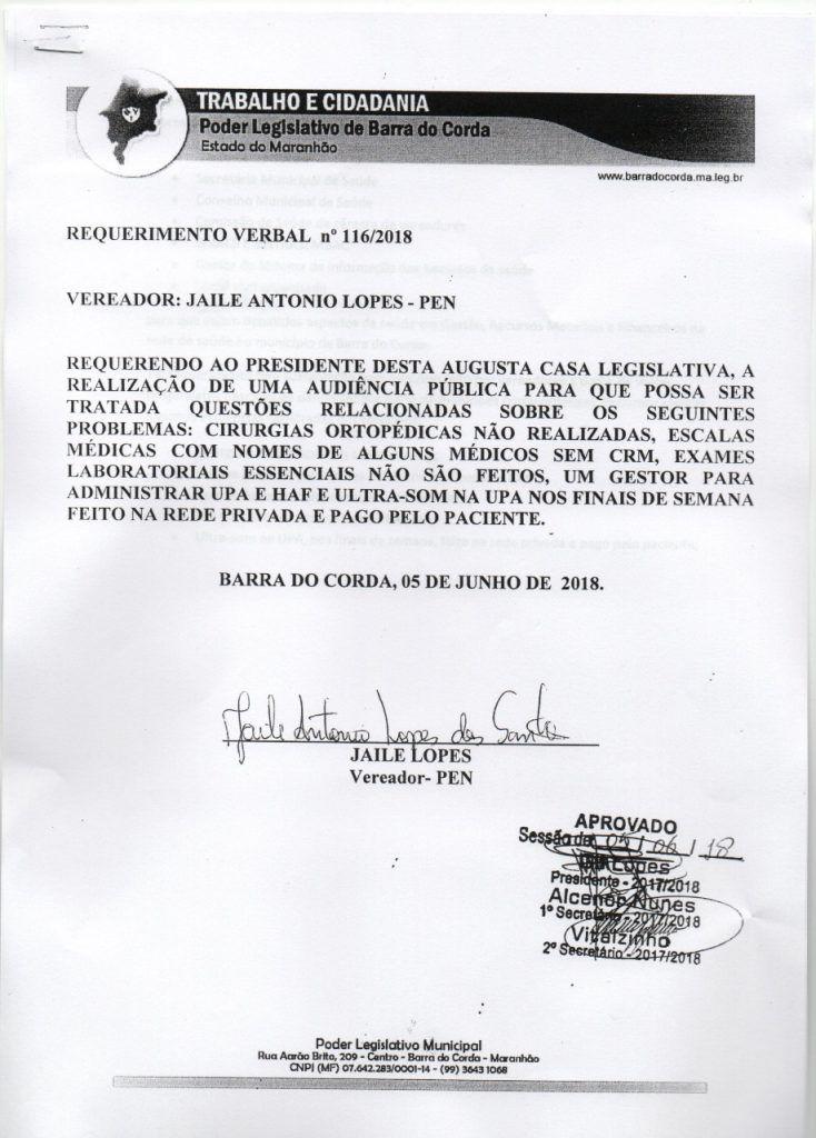 IMG 20180607 WA0048 734x1024 - Vereador Jaile solicita audiência pública para tratar de assuntos referentes aos serviços na saúde - minuto barra