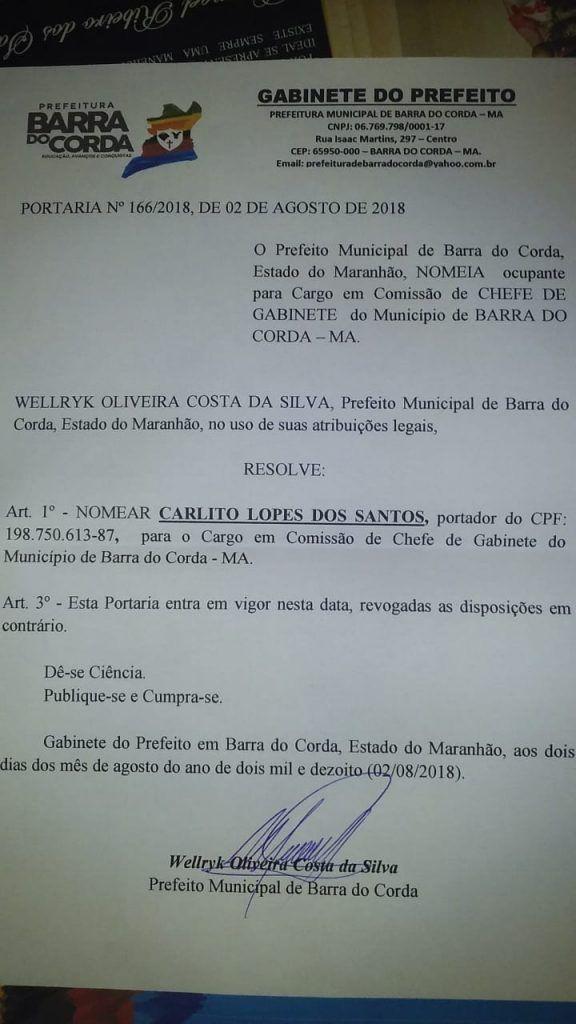 IMG 20180806 WA0079 576x1024 - Carlito Santos é o novo secretário chefe de gabinete do prefeito Eric Costa - minuto barra