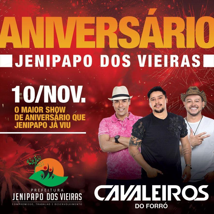 IMG 20181017 WA0066 - 10/NOV: Cavaleiros do Forró fará um mega show no aniversário de Jenipapo dos Vieiras - minuto barra