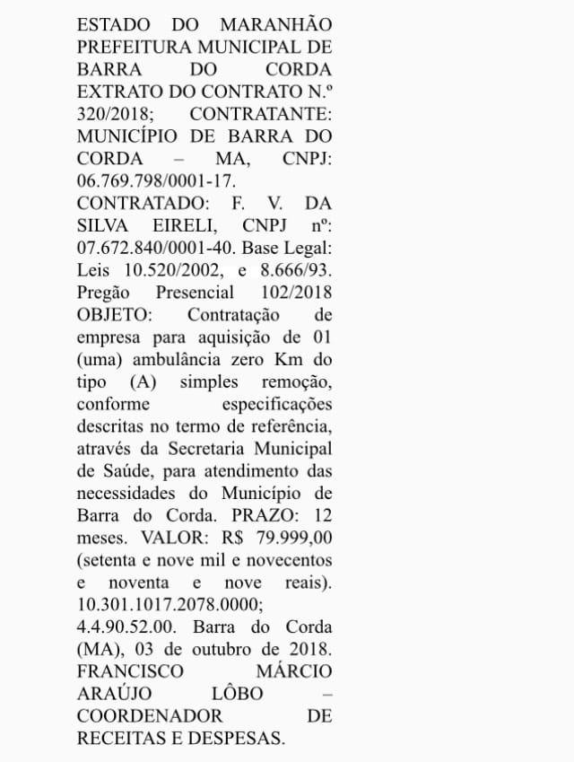 IMG 20181019 WA0041 - Prefeitura de Barra do Corda decide usar emenda de Hildo Rocha para compra de uma ambulância - minuto barra