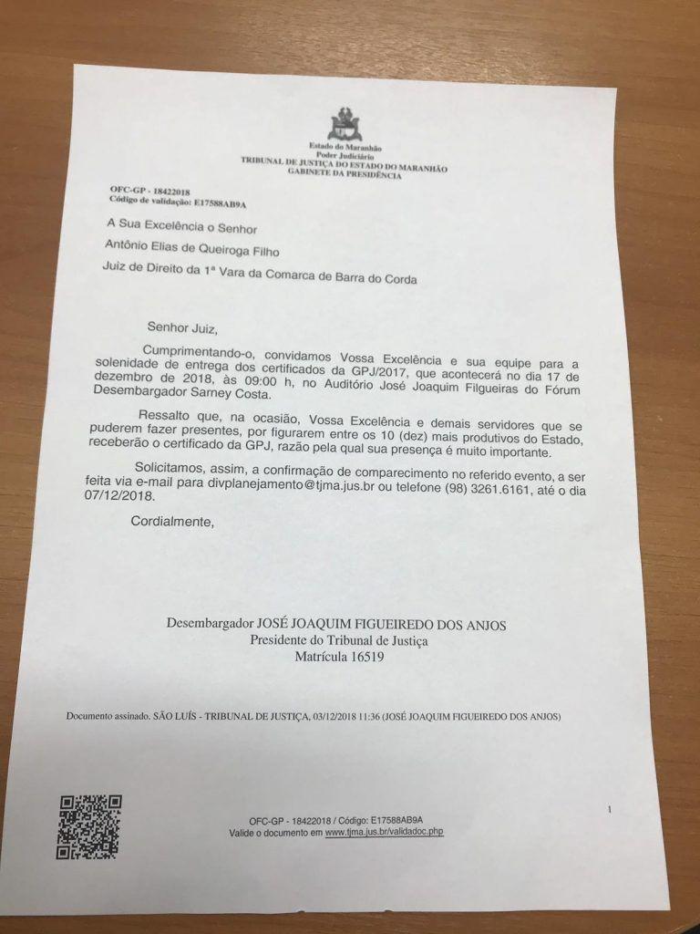 IMG 20181204 WA0023 768x1024 - Primeira Vara da Comarca de Barra do Corda fica entre às 10 bem mais produtivas do judiciário maranhense - minuto barra