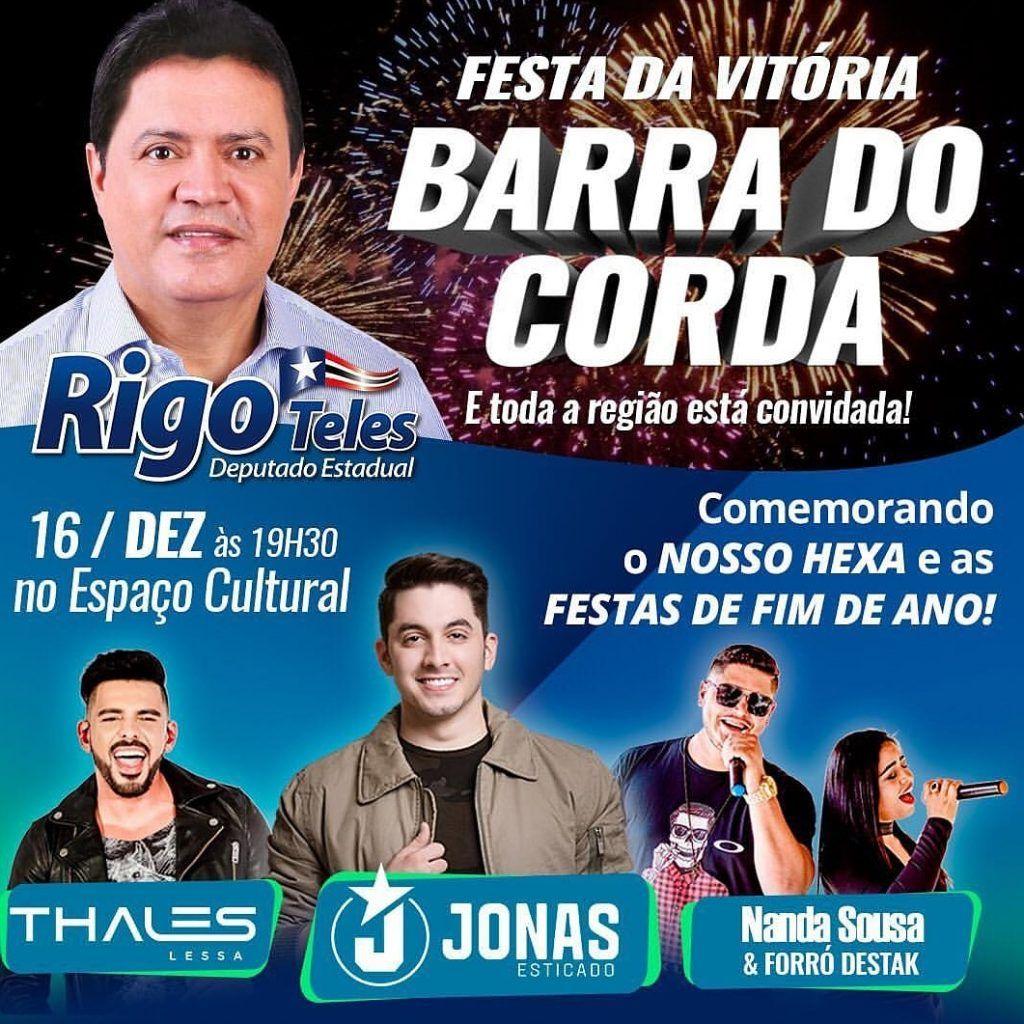 IMG 20181204 WA0034 1024x1024 - Jonas Esticado vem a Barra do Corda comemorar o 6° mandato de Rigo Teles - minuto barra