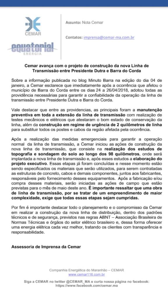 Screenshot 20190110 175204 576x1024 - Cemar emite nota de esclarecimento após este blog cobrar construção da nova linha de transmissão entre Presidente Dutra e Barra do Corda - minuto barra