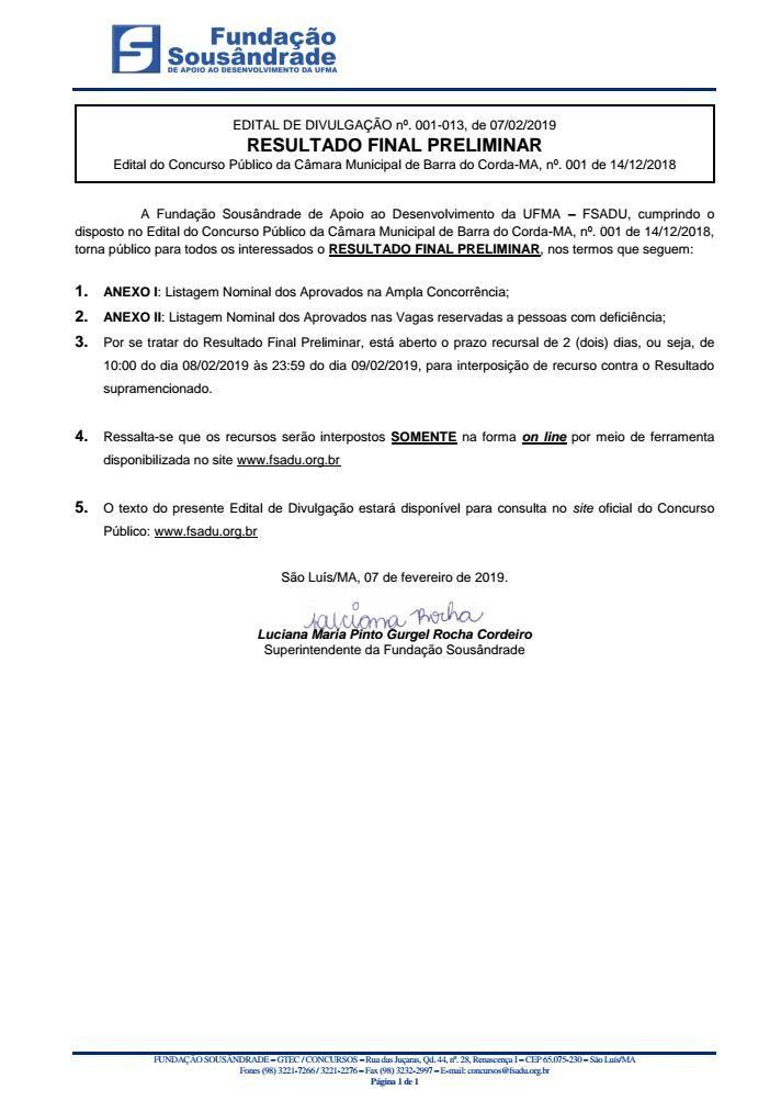 IMG 20190207 WA0034 - VEJA AQUI: Lista dos aprovados no concurso público da Camâra Municipal de Barra do Corda - minuto barra