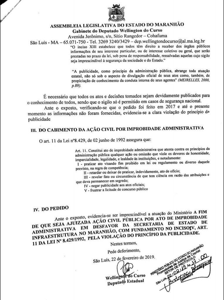 IMG 20190223 WA0004 765x1024 - Deputado Wellington denuncia falta de transparência de Flávio Dino na SINFRA e propõe ação por improbidade - minuto barra