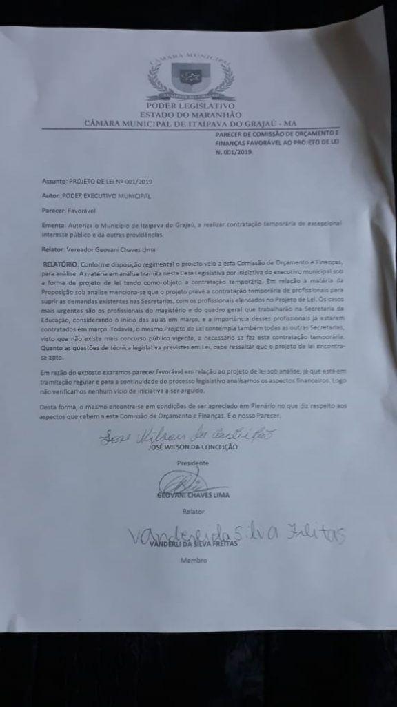 IMG 20190223 WA0022 576x1024 - ALÔ MP: Prefeito pede, e Câmara Municipal de Itaipava do Grajaú autoriza contratação de mais de 300 pessoas - minuto barra