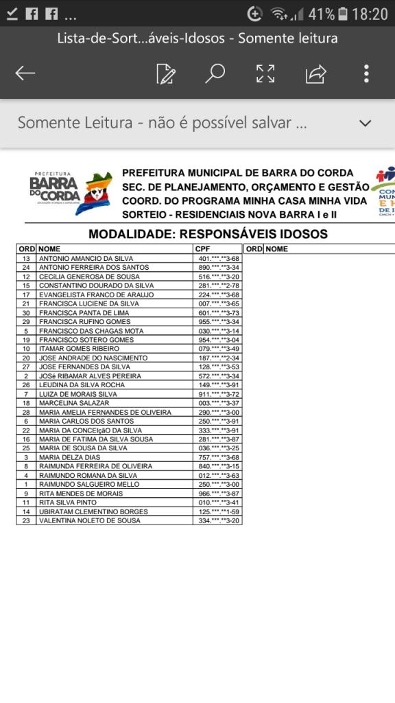 Screenshot 20190204 182020 576x1024 - VEJA AQUI: Prefeitura divulga lista dos sorteados para receber residências do Minha Casa Minha Vida em Barra do Corda - minuto barra