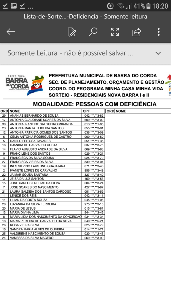 Screenshot 20190204 182040 576x1024 - VEJA AQUI: Prefeitura divulga lista dos sorteados para receber residências do Minha Casa Minha Vida em Barra do Corda - minuto barra