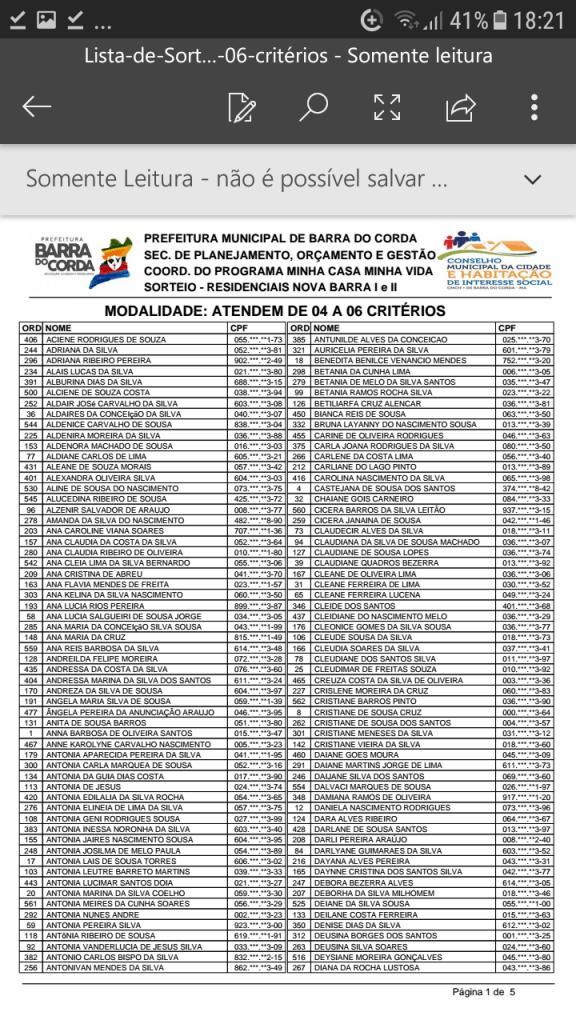 Screenshot 20190204 182101 576x1024 - VEJA AQUI: Prefeitura divulga lista dos sorteados para receber residências do Minha Casa Minha Vida em Barra do Corda - minuto barra