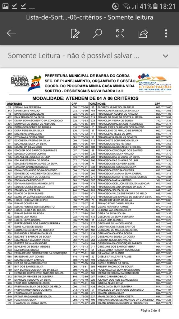 Screenshot 20190204 182109 576x1024 - VEJA AQUI: Prefeitura divulga lista dos sorteados para receber residências do Minha Casa Minha Vida em Barra do Corda - minuto barra