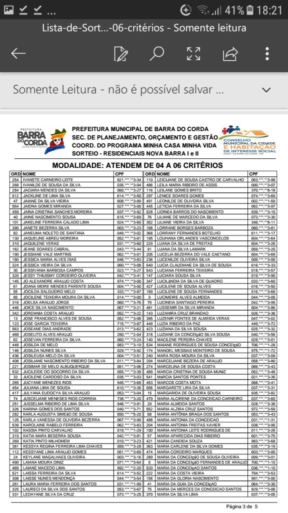 Screenshot 20190204 182118 576x1024 - VEJA AQUI: Prefeitura divulga lista dos sorteados para receber residências do Minha Casa Minha Vida em Barra do Corda - minuto barra