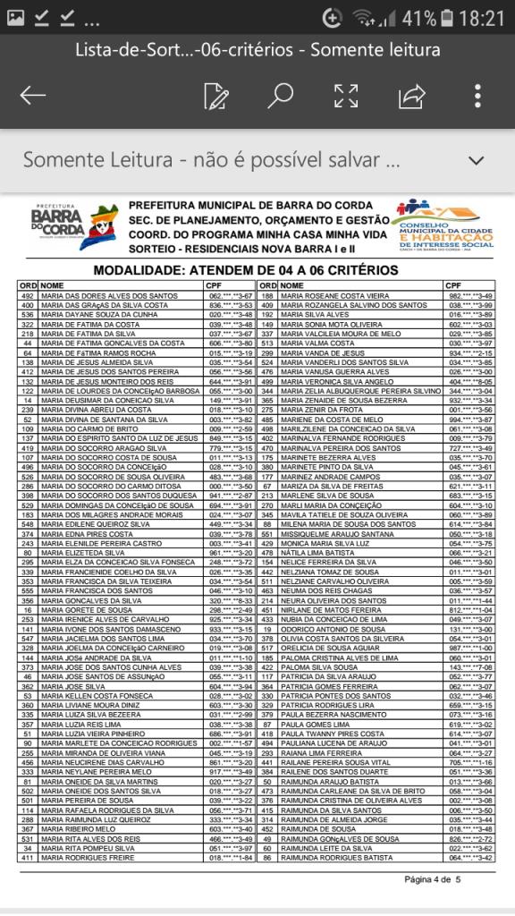 Screenshot 20190204 182123 576x1024 - VEJA AQUI: Prefeitura divulga lista dos sorteados para receber residências do Minha Casa Minha Vida em Barra do Corda - minuto barra