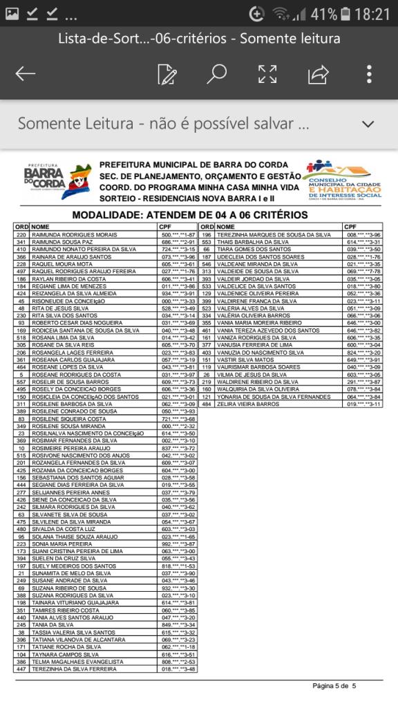 Screenshot 20190204 182128 576x1024 - VEJA AQUI: Prefeitura divulga lista dos sorteados para receber residências do Minha Casa Minha Vida em Barra do Corda - minuto barra