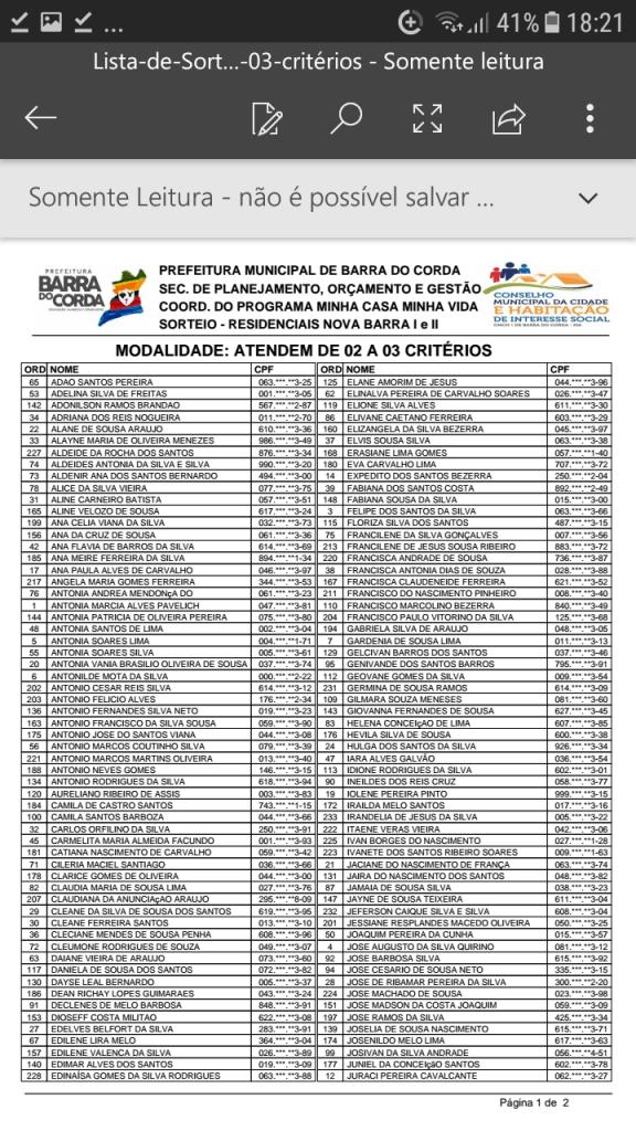Screenshot 20190204 182144 576x1024 - VEJA AQUI: Prefeitura divulga lista dos sorteados para receber residências do Minha Casa Minha Vida em Barra do Corda - minuto barra