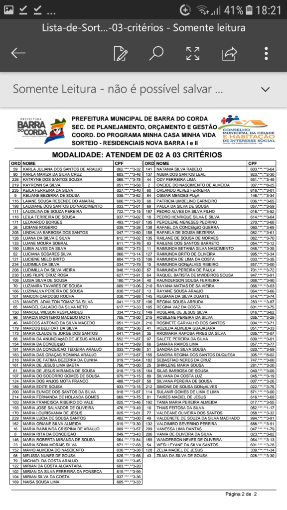 Screenshot 20190204 182149 576x1024 - VEJA AQUI: Prefeitura divulga lista dos sorteados para receber residências do Minha Casa Minha Vida em Barra do Corda - minuto barra