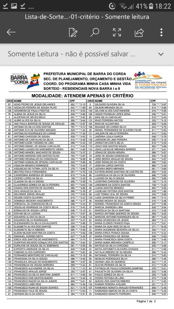 Screenshot 20190204 182212 576x1024 - VEJA AQUI: Prefeitura divulga lista dos sorteados para receber residências do Minha Casa Minha Vida em Barra do Corda - minuto barra
