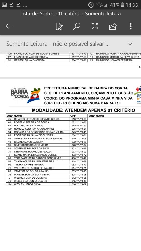 Screenshot 20190204 182222 576x1024 - VEJA AQUI: Prefeitura divulga lista dos sorteados para receber residências do Minha Casa Minha Vida em Barra do Corda - minuto barra