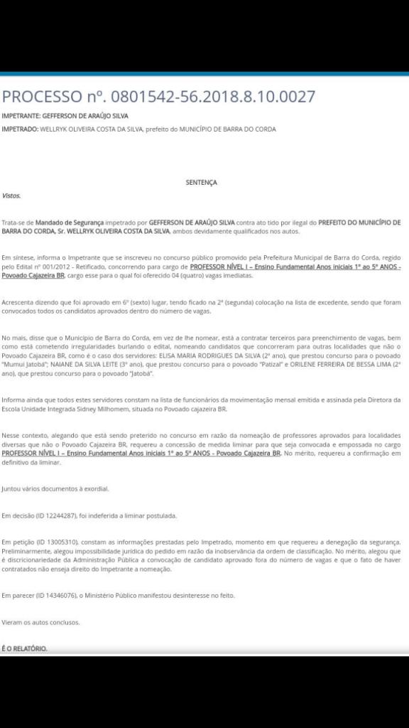 Screenshot 20190212 091953 576x1024 - Juiz manda prefeitura de Barra do Corda empossar candidato execedente do concurso em vaga no Povoado Cajazeira - minuto barra