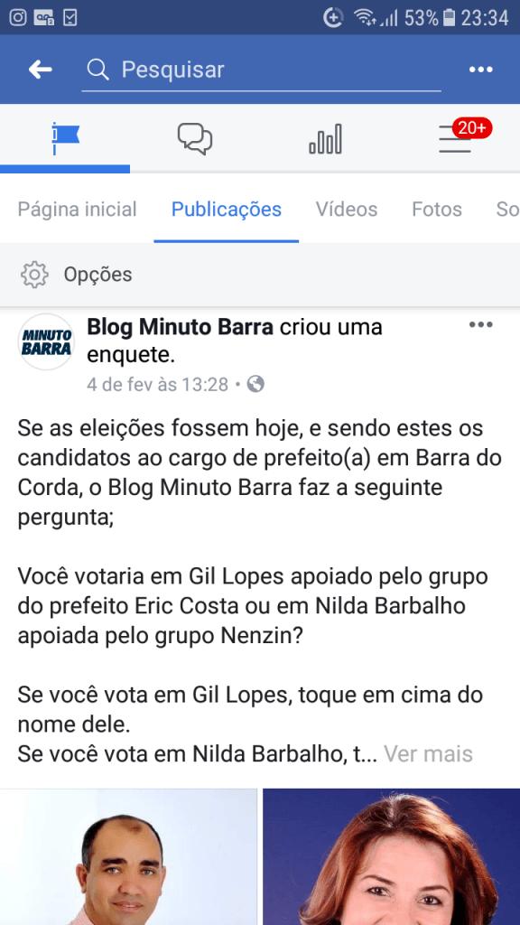 Screenshot 20190213 233458 576x1024 - VEJA AQUI: Resultado da enquete entre Gil Lopes e Nilda Barbalho rumo a prefeitura de Barra do Corda - minuto barra