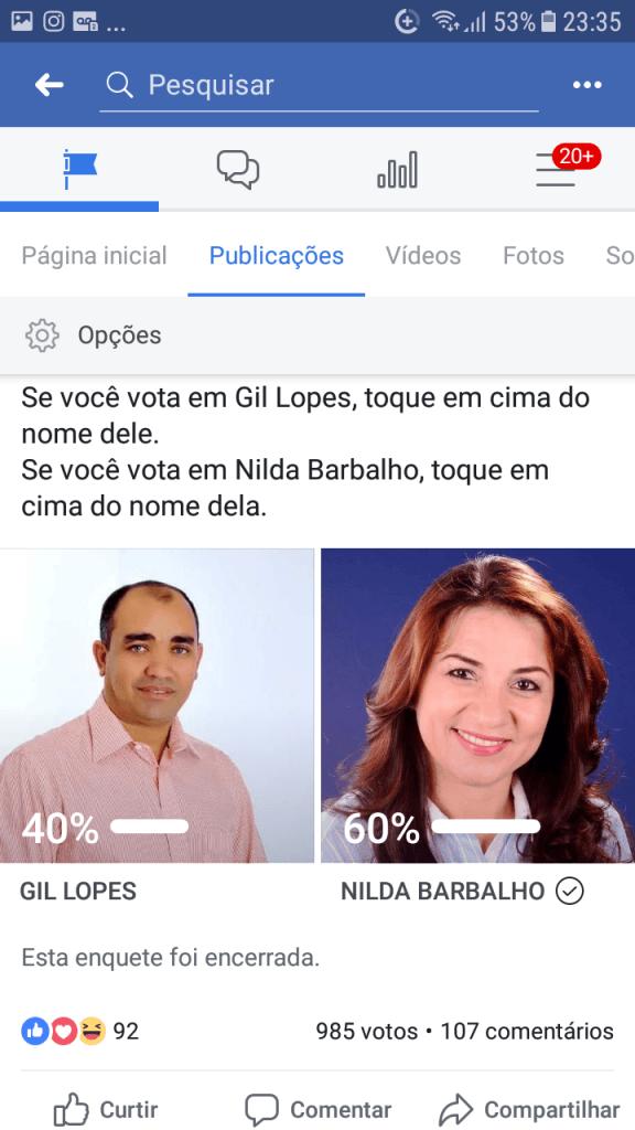 Screenshot 20190213 233509 576x1024 - VEJA AQUI: Resultado da enquete entre Gil Lopes e Nilda Barbalho rumo a prefeitura de Barra do Corda - minuto barra