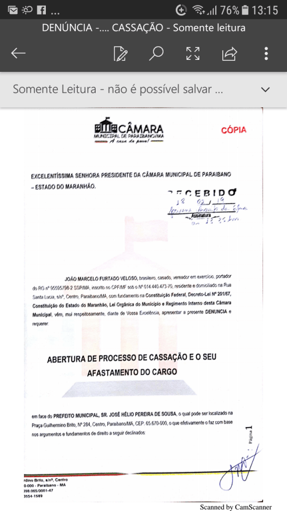 Screenshot 20190219 131532 576x1024 - Protocolado na Câmara Municipal pedido de cassação do mandato do prefeito Zé Hélio de Paraibano/MA - minuto barra