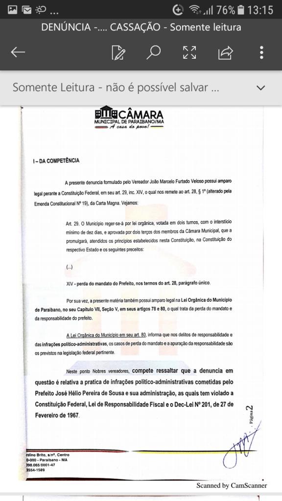 Screenshot 20190219 131540 576x1024 - Protocolado na Câmara Municipal pedido de cassação do mandato do prefeito Zé Hélio de Paraibano/MA - minuto barra
