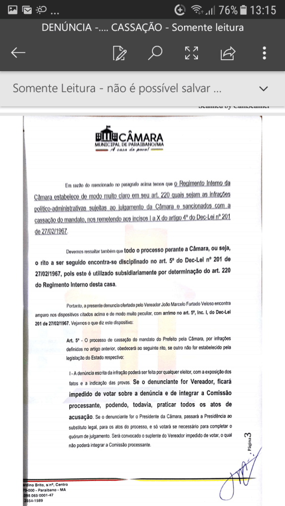 Screenshot 20190219 131547 576x1024 - Protocolado na Câmara Municipal pedido de cassação do mandato do prefeito Zé Hélio de Paraibano/MA - minuto barra