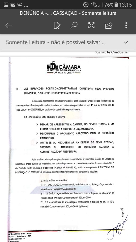 Screenshot 20190219 131551 576x1024 - Protocolado na Câmara Municipal pedido de cassação do mandato do prefeito Zé Hélio de Paraibano/MA - minuto barra
