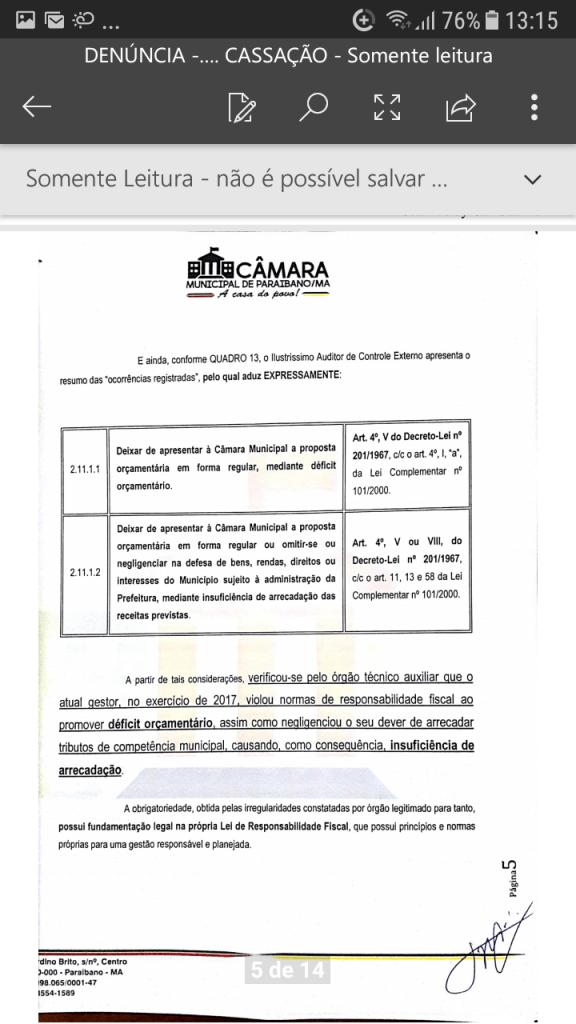 Screenshot 20190219 131555 576x1024 - Protocolado na Câmara Municipal pedido de cassação do mandato do prefeito Zé Hélio de Paraibano/MA - minuto barra